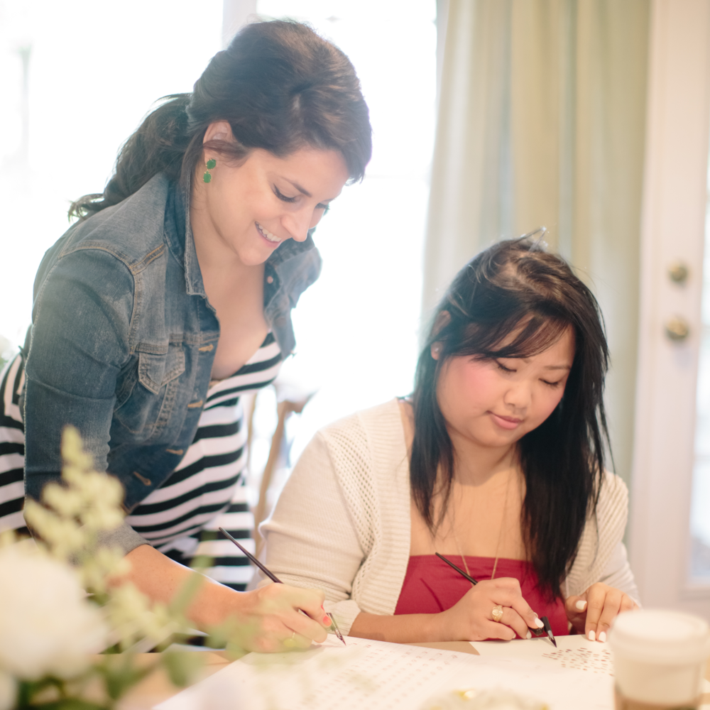 Teaching Meaghan | Natalie Grace Calligraphy Class
