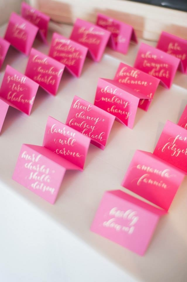 Escort Cards | Lori + Wes | Jess Barfield Photography | Natalie Grace Calligraphy Co.