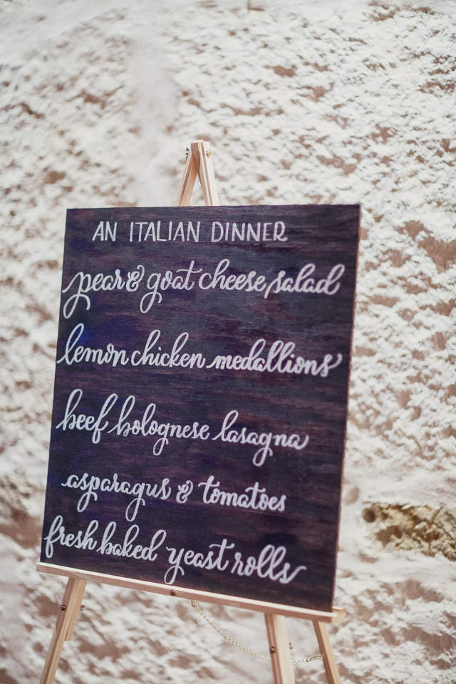Italian Dinner Menu | Laura + Andrew | Shaun Menary Photography | Natalie Grace Calligraphy Co.