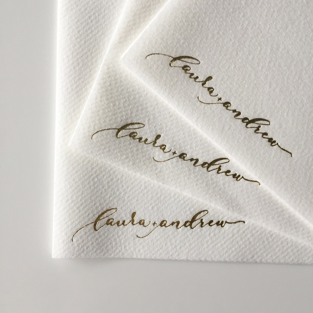 Cocktail Napkins | Laura + Andrew | Shaun Menary Photography | Natalie Grace Calligraphy Co.