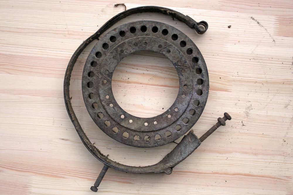 Sidevognsbremsen! Hjulet det satt på er aldri funnet.