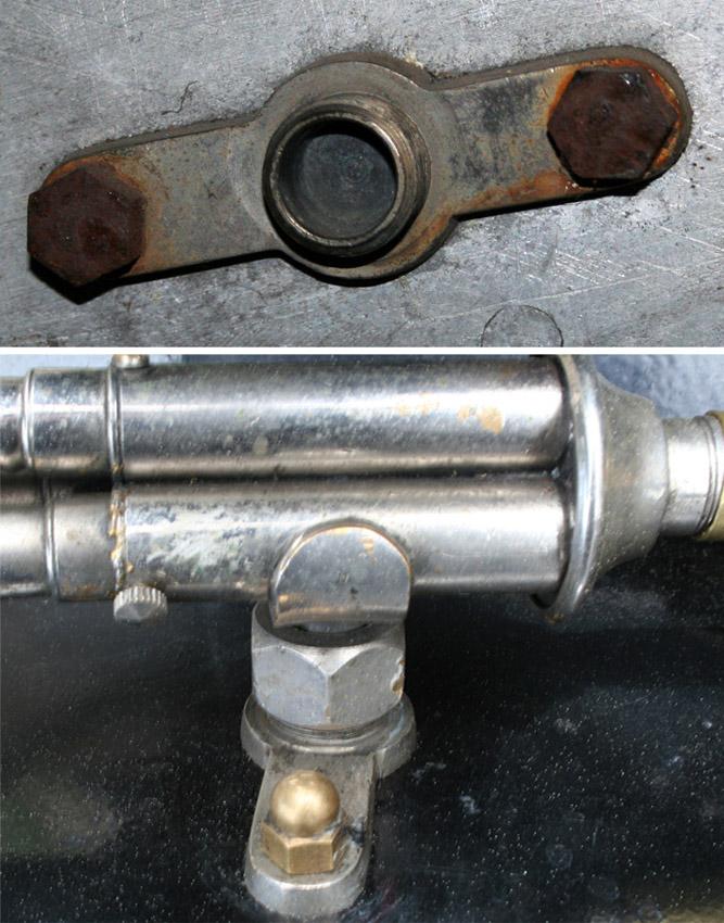 Festet på sidevogna til trippelhornet satt fremdeles på plass da karosseriet ble funnet. Nederst, samme type horn og feste.