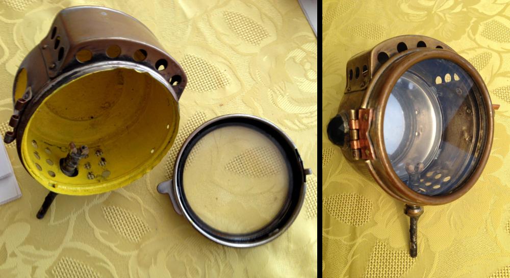 Sidevognlykt før og etter . Gul emaljelakk fjernet,nylaget hengsel og lås er naglet på plass. Med juvel funnet på ebay, ogaskebeger til reflektor erlykta komplett.