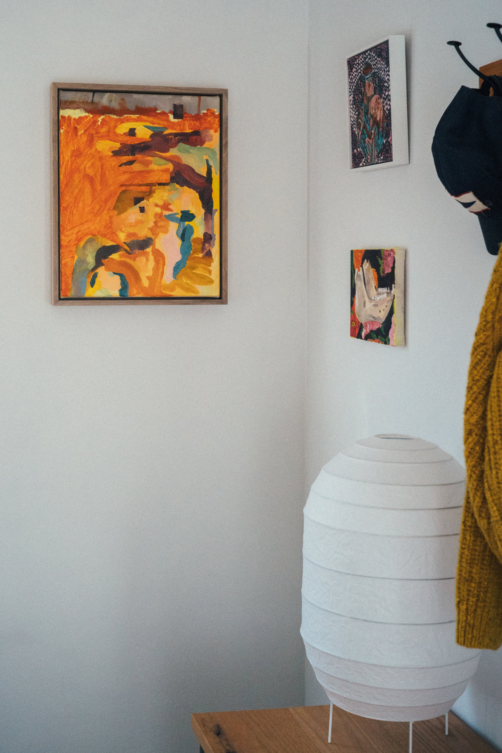 Five-Alarm Fire , also from 2018, photographed in situ with two Anna Valdez paintings.