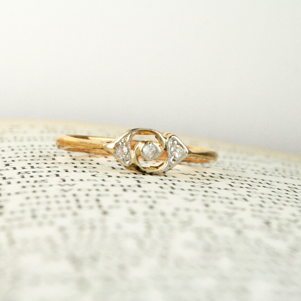 Petite open panel diamond ring