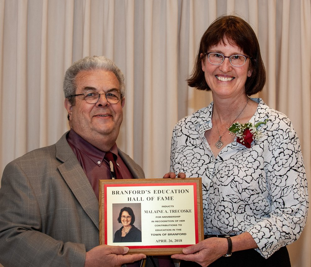 Malaine Trescoske was inducted in the Branford Board of Education Hall of Fame.