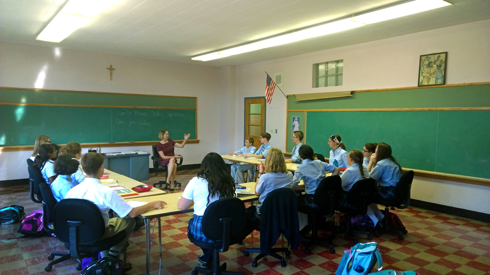 Our students on their first day of literature class at Chesterton Academy of Buffalo.
