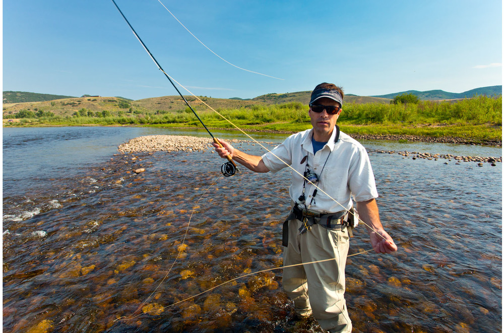 Peter Sheetz fly fishing on the Yampa River near Steamboat, Colorado