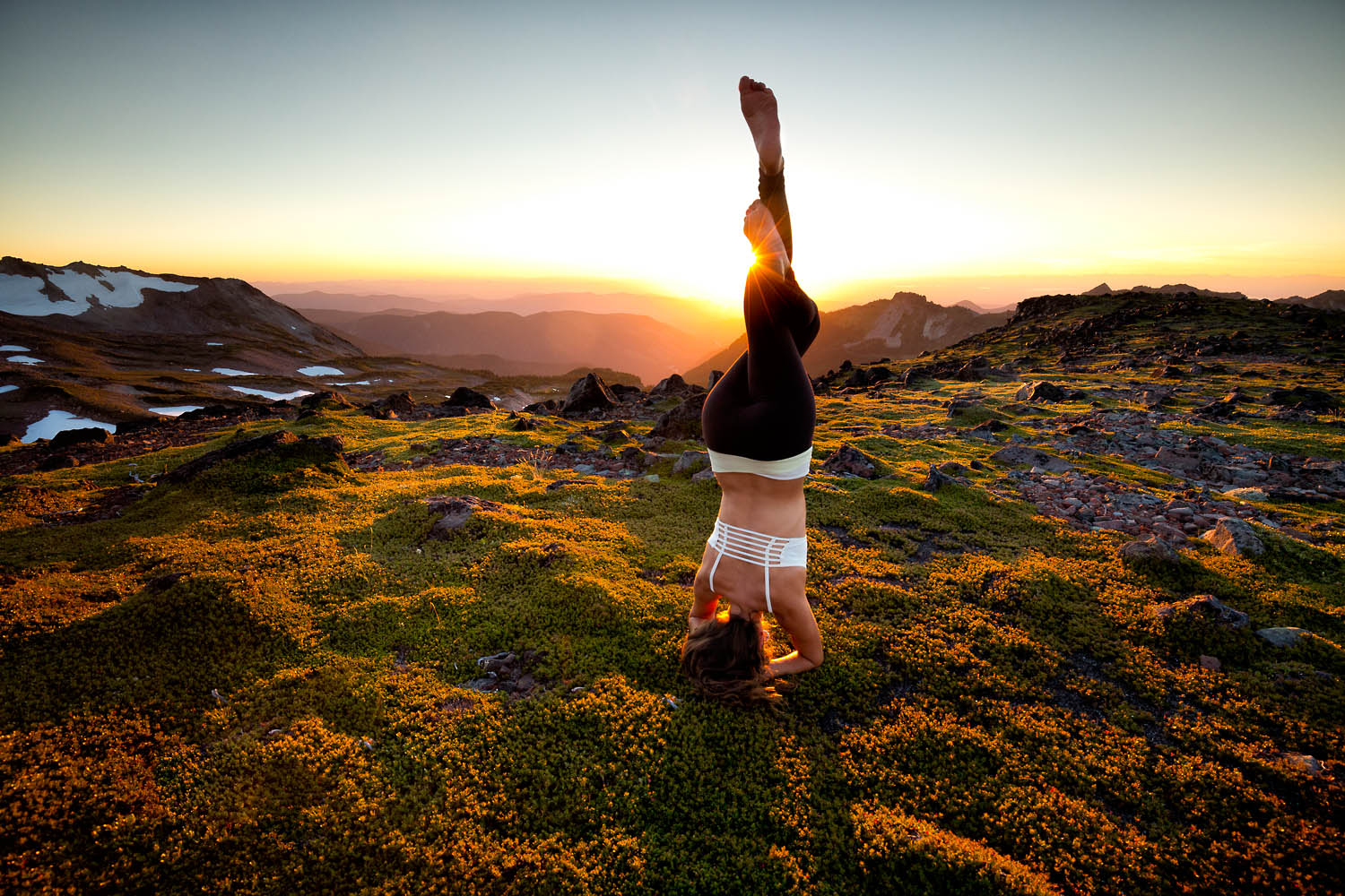 Lifestyle mary little practicing yoga in the wilderness of mt rainier national park