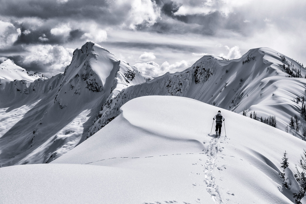 Adventure: Scott Emery backcountry ski touring in the Purcell Mountains, Powder Creek, British Columbia, Canada, Shot for Osprey