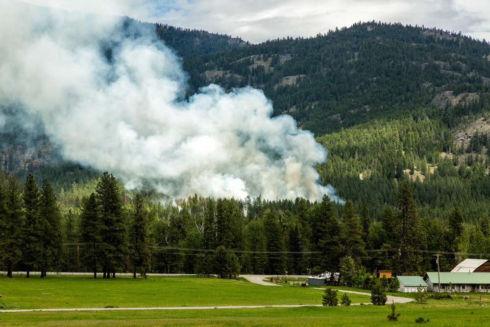 Conservation: Smoke from a prescribed burn in the Methow Valley, Washington
