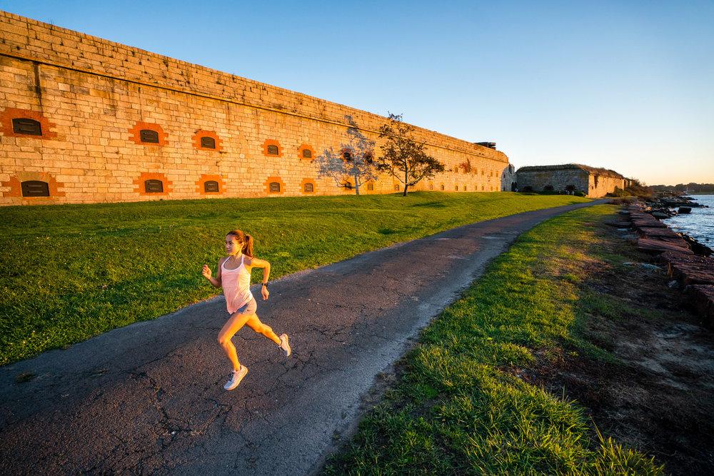 Fitness: Road running at Fort Adams at sunset, Newport, Rhode Island
