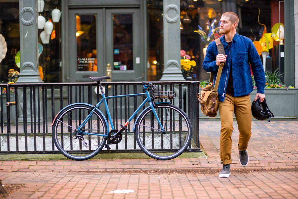 Lifestyle: Urban lifestyle and biking in Pioneer Square, downtown Seattle, Washington