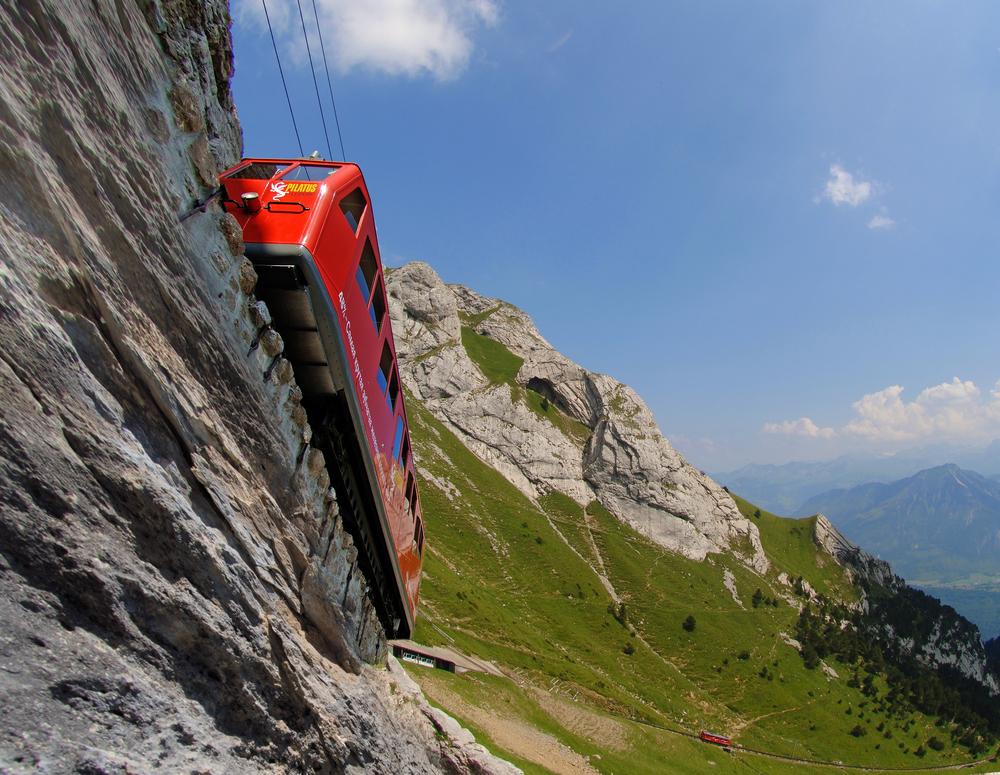World's steepest rack railway to the Pilatus near Lucerne (© Luzern Tourismus)