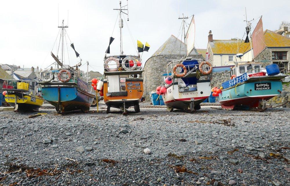 Cadwith fishing boats - Cornwall