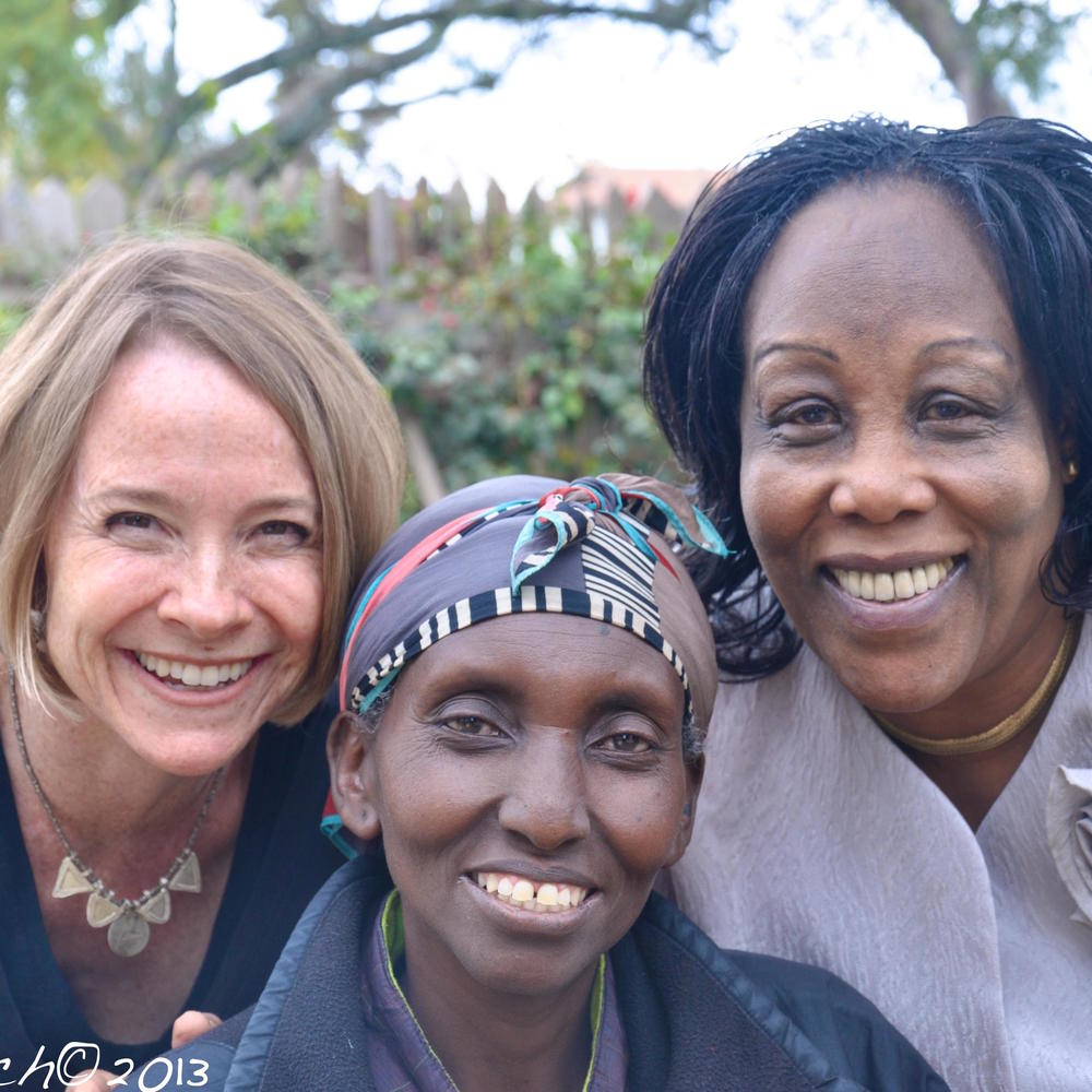 Cheryl (L) with Regional Leader Judy Mbugua (R) and Ann from Kenya.