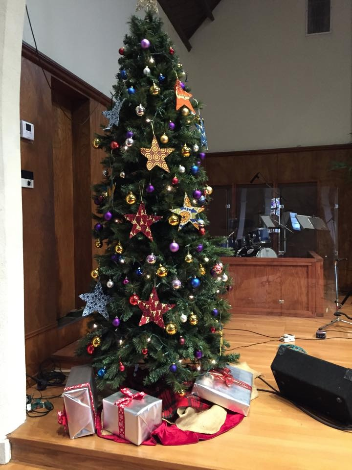 The Church Christmas tree - decorated with fabulous stars made by the women in Burundi!