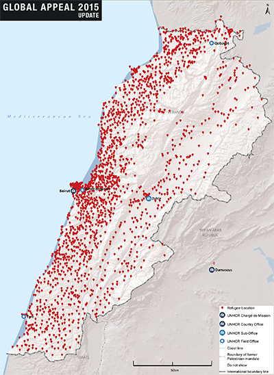 Red dots represent the location of Syrian refugee camps in Lebanon  (UNHCR)