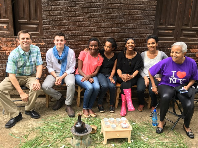 The Tirzah team participating in an Ethiopian coffee ceremony with members of BEZA