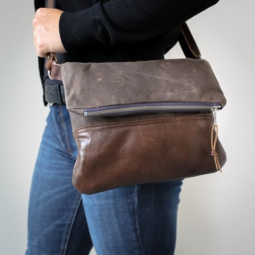 83bba7d51675 Waxed Canvas   Leather Foldover Day Bag Bark Brown — Stitch   Rivet