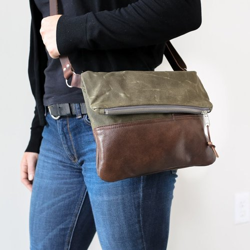 f5b26bb2b363 Waxed Canvas   Leather Foldover Day Bag Olive — Stitch   Rivet