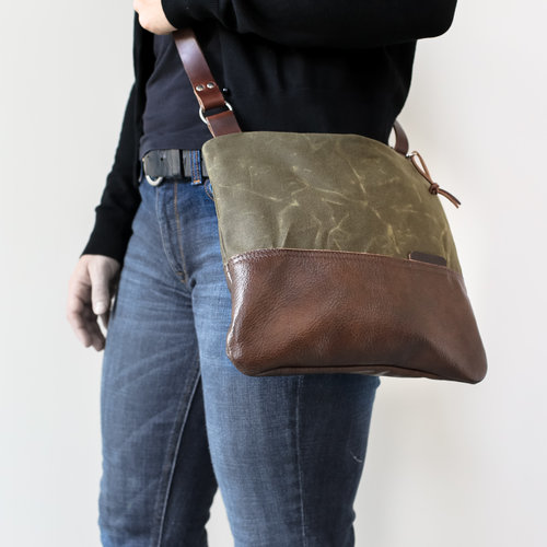 6f104a2ee2 Waxed Canvas and Leather Zip-Top Day Bag Olive — Stitch   Rivet