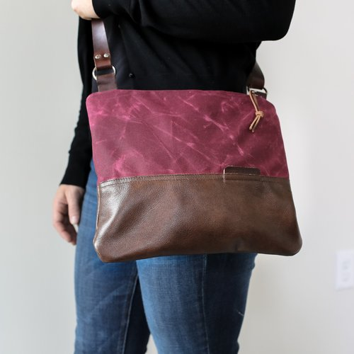 Waxed Canvas and Leather Zip-Top Day Bag Berry — Stitch   Rivet 45efa769c27f6