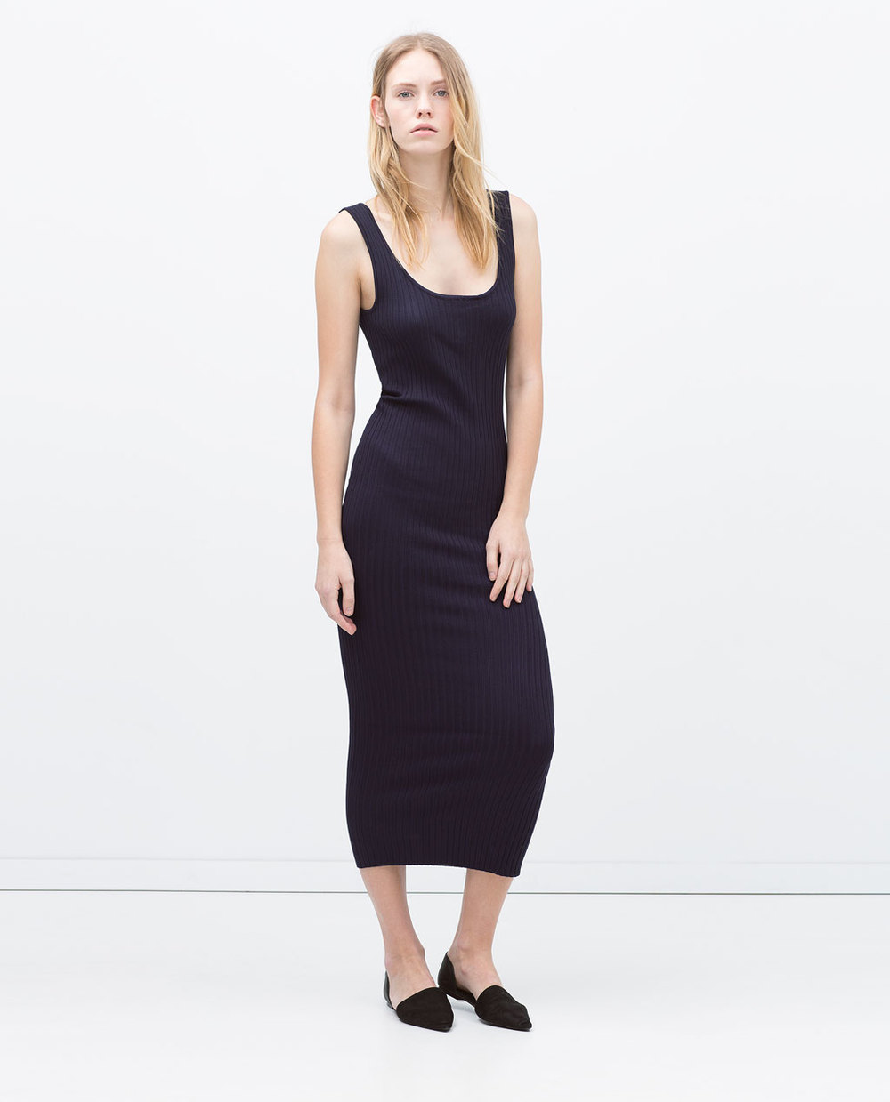 LONG RIBBED DRESS 29.99 USD