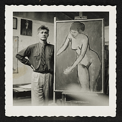 James Lechay in his studio, ca. 1960; photo courtesy of AAAI