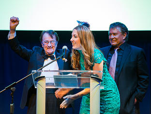 Cinematographer Bill Butler, recipient of the Lifetime Achievement Award, with Summer Peacher and actor, Tom Berenger.