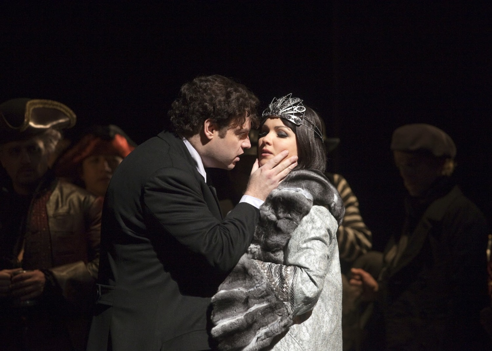 Hoffman's loves; the Diva, Stella, and (below) three faces of love.  (Photos: Ken Howard/Marty Sohl/Metropolitan Opera)