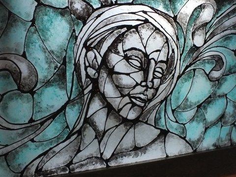 Reclaimed glass sculpture