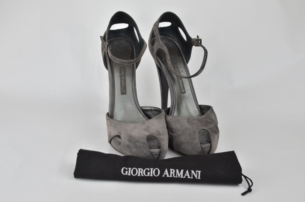 16. Giorgio Armani Gray Suede Platform