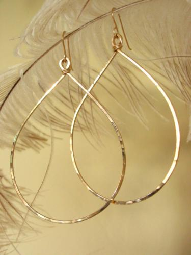 Hand hammered gold hoops by Lily Girl