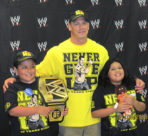 Wish Granted! Eddie meeting professional wrestler, John Cena in Baltimore, MD for  Monday Night Raw .