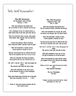 Who Will Remember (1986 poem by Chris with adaptation in 2000)