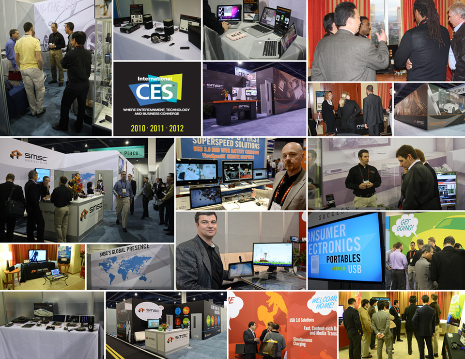 SMSC had show presence, but not design. Prior to 2007, at their largest show of the year CES, there were no graphics other then a logo placed on grey walls.
