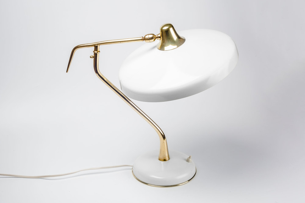 Vintage Italian Lamp By Oscar Torlasco For Lumi In Brass And White Metal  Italy 1950s