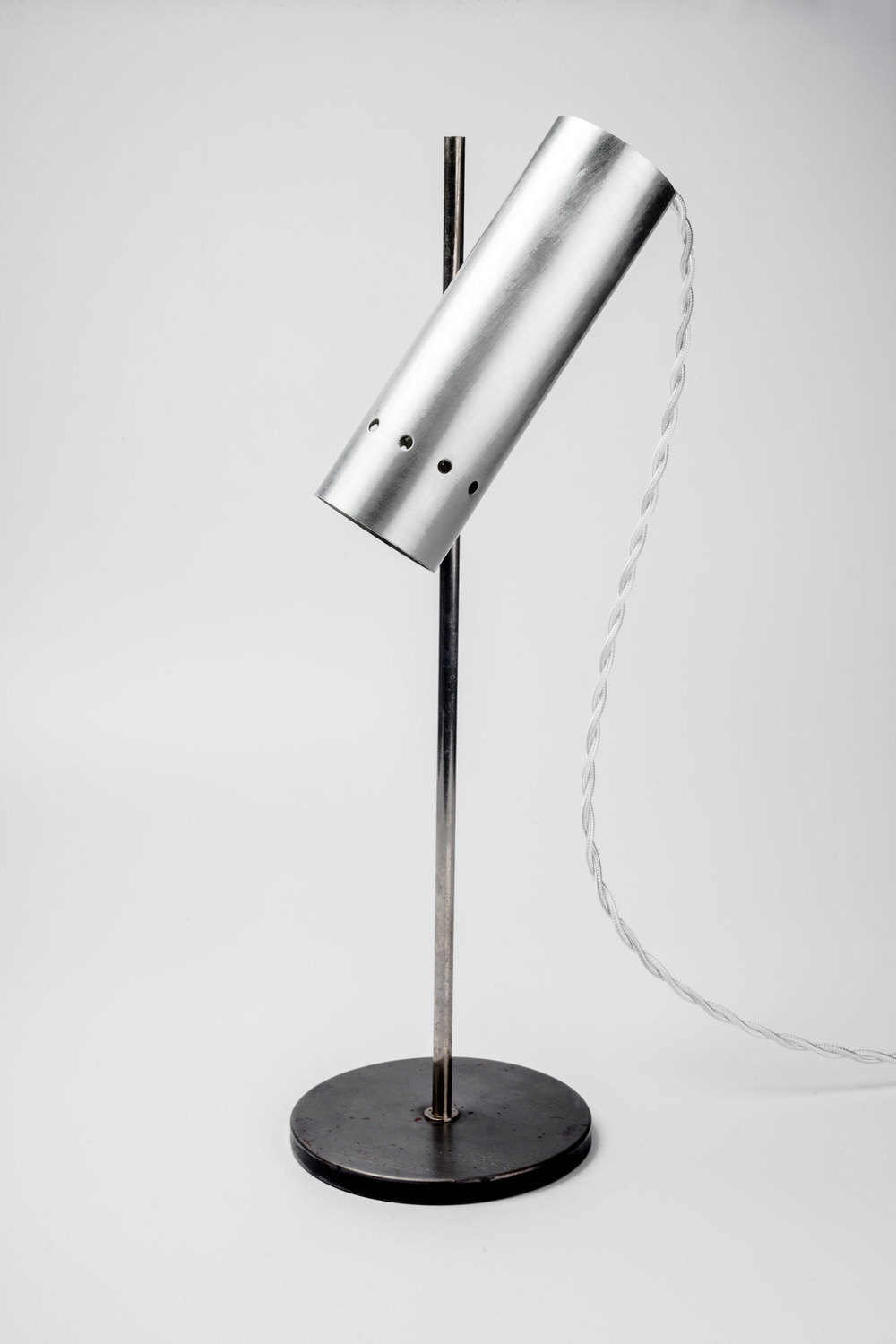 Modernist French Table Lamp With Brushed Aluminum Shade France 1950s