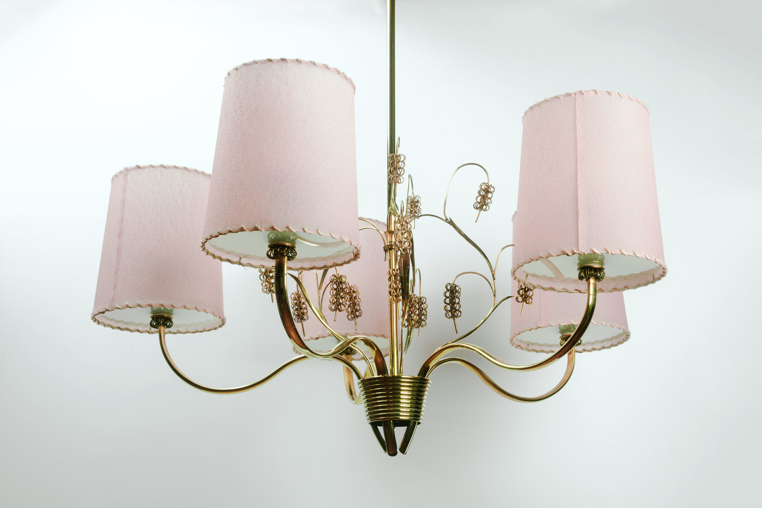 Finnish Chandelier 9015 By Paavo Tynell In Brass Glass And Parchment Shades Finland 1940s