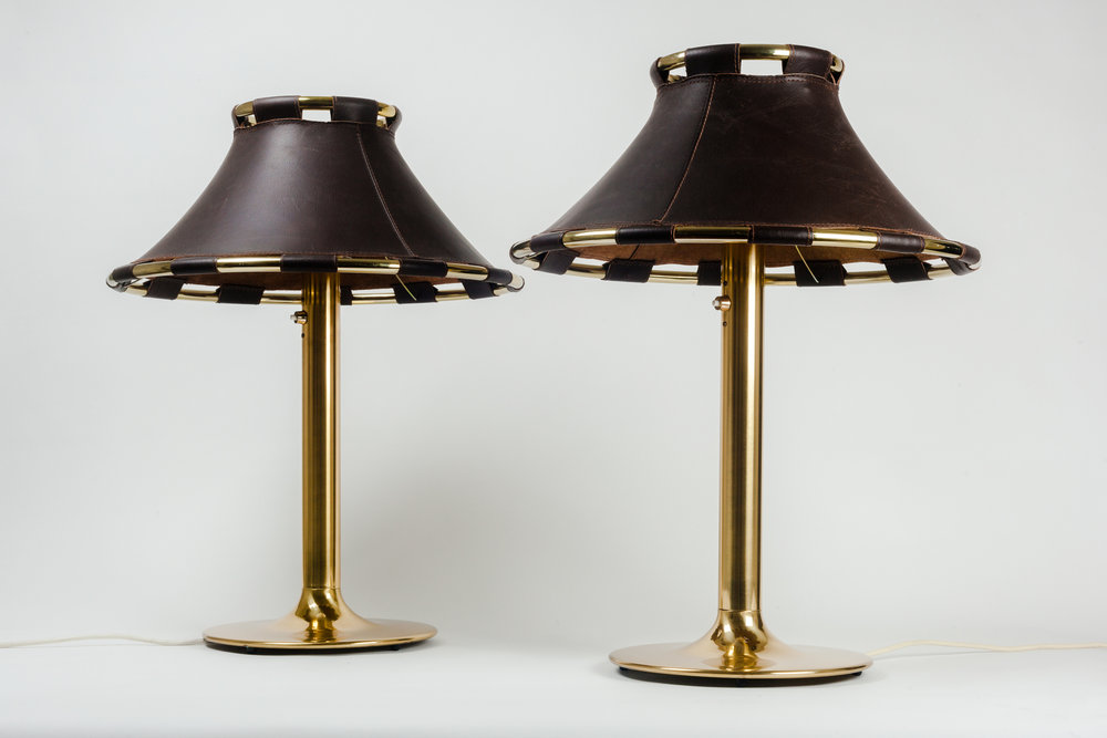 Lamp with Leather Shades and brass body