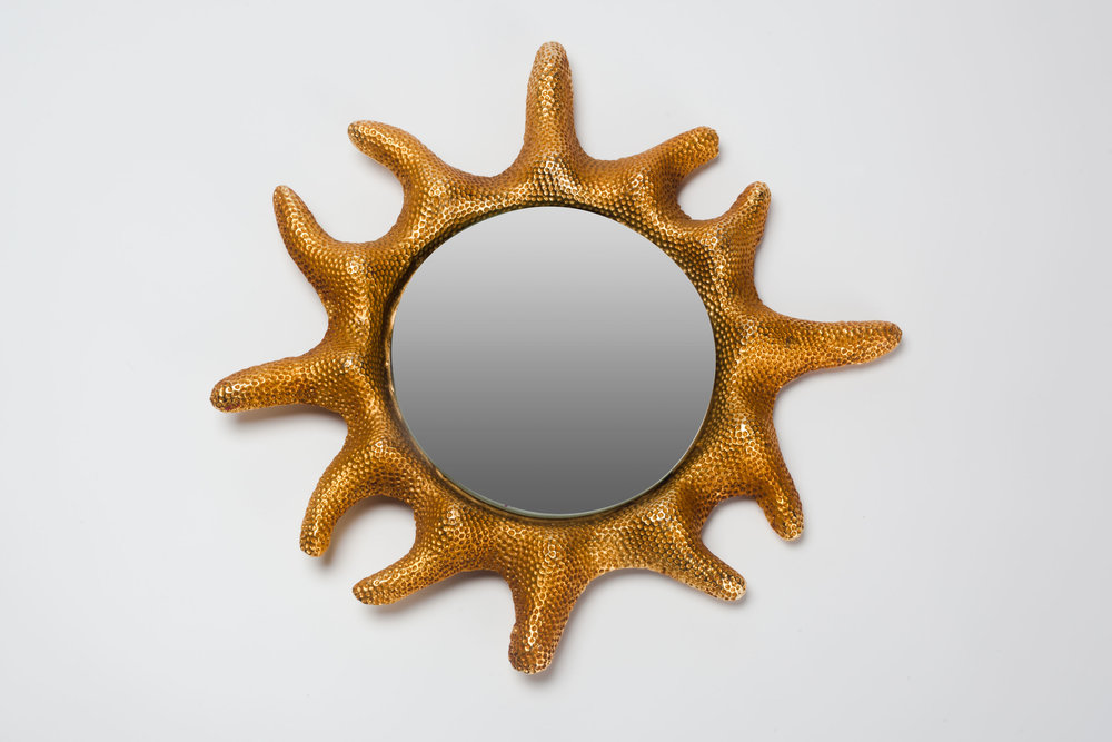 Gilted Bronze Mirror by Stephane Gallerneau for Fondica France 1995