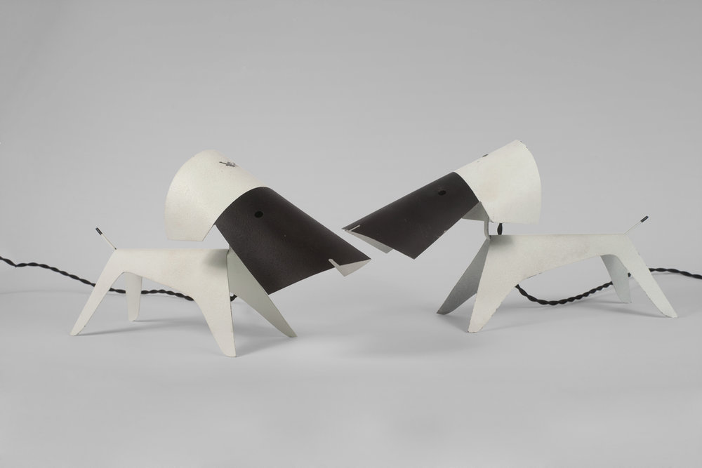 Dog Lamps Pair attributed Jean Boris Lacroix for Editions Disderot, France, 1950s