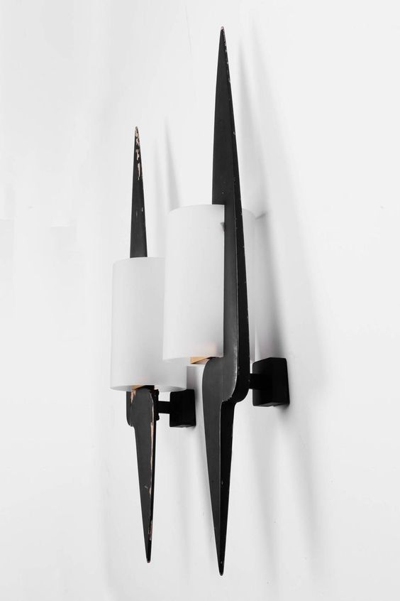 Arlus sconces in black painted wood and sand blasted glass, France, 1950s