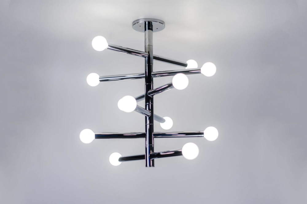 Robert Sonneman Chrome Helix Chandelier, 6 rotating arms with 12 lights, USA, 1970s