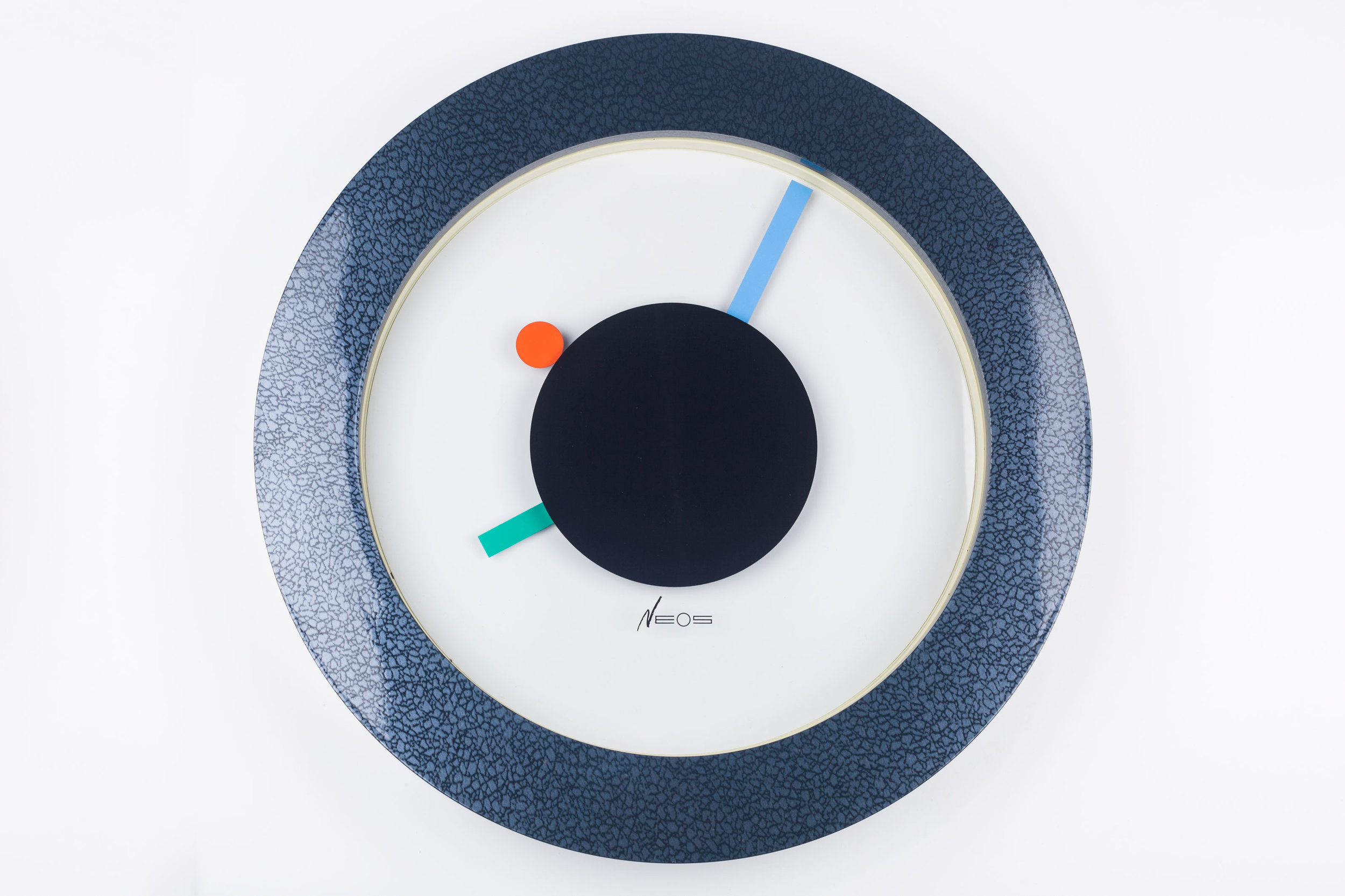 MEMPHIS WALL CLOCK, BLUE, GREEN, RED, DU PASQUIER & SOWDEN X NEOS, ITALY, 1980S