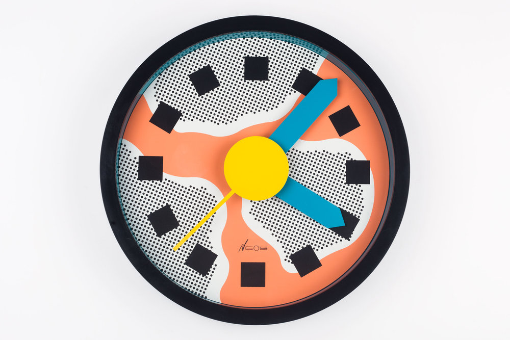 MEMPHIS WALL CLOCK, DU PASQUIER AND SOWDEN FOR NEOS, POP ART STYLE, ITALY, 1988