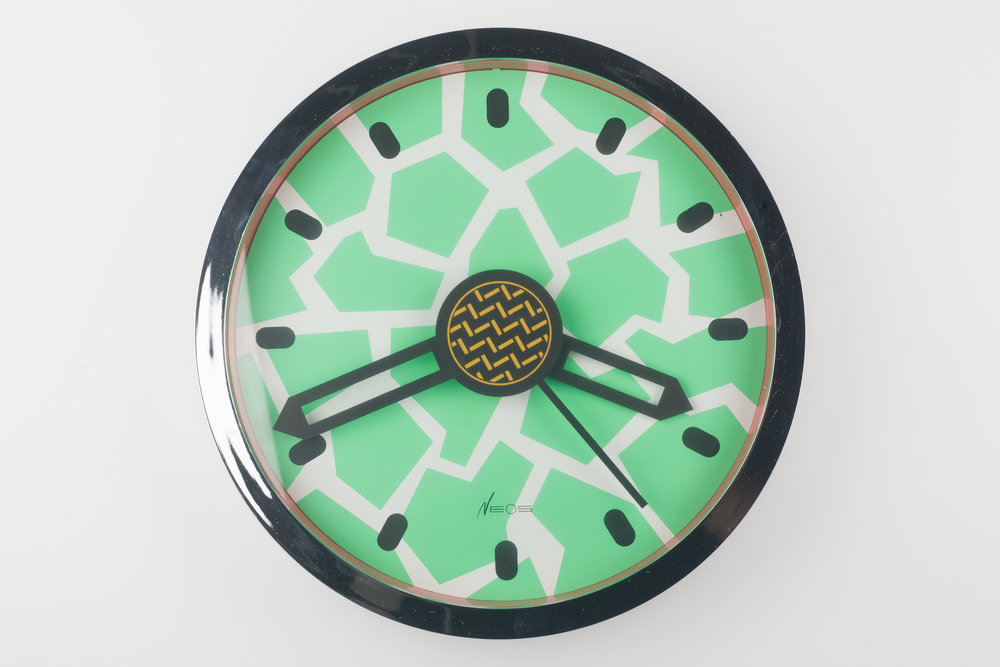 MEMPHIS WALL CLOCK CHROME, GREEN, DU PASQUIER AND SOWDEN FOR NEOS, ITALY, 1980S