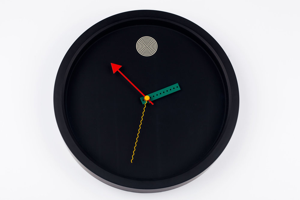 POSTMODERN BLACK WALL CLOCK BY SHOHEI MIHARA FOR WAKITA, JAPAN, 1980S