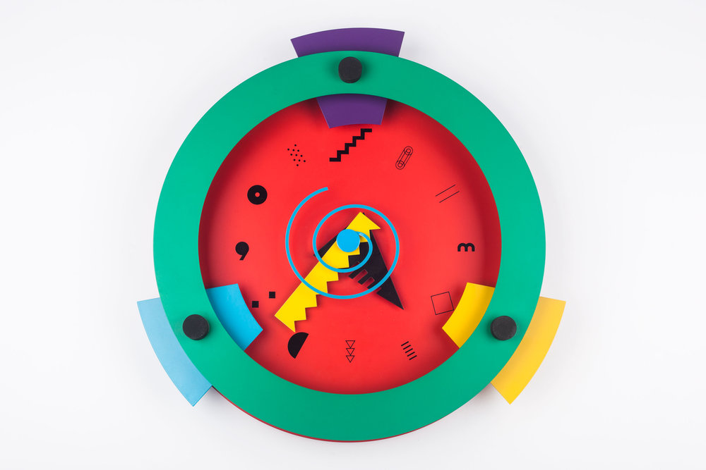 "POSTMODERN WALL CLOCK ""PARADISE"" BY SHOHEI MIHARA FOR WAKITA, JAPAN, 1980S"